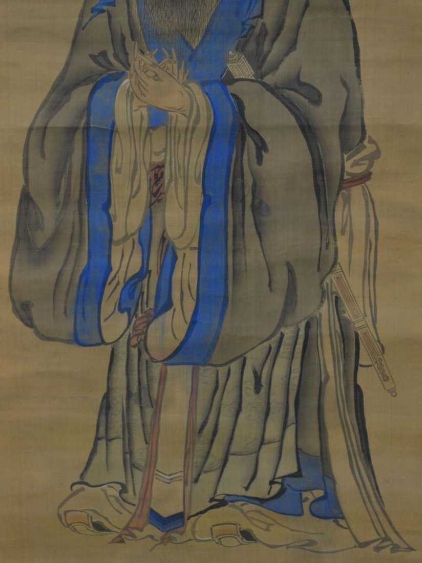 579: JAPANESE INK & COLOR ON SILK PAINTING,CHINESE SAGE - 6