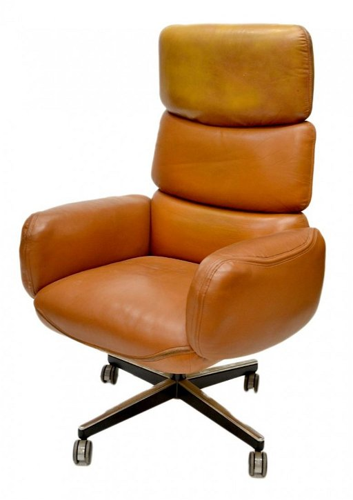 630: KNOLL MID-CENTURY MODERN LEATHER OFFICE CHAIR