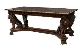 719: ITALIAN RENAISSANCE REVIVAL DINING TABLE, LIONS