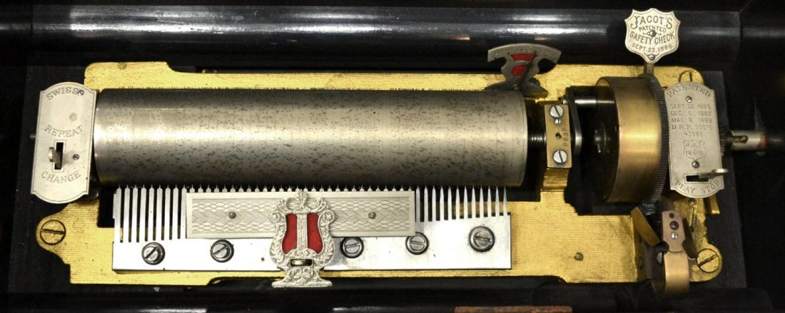 753: JACOT'S SWISS CYLINDER MUSIC BOX, 10 TUNES - 4