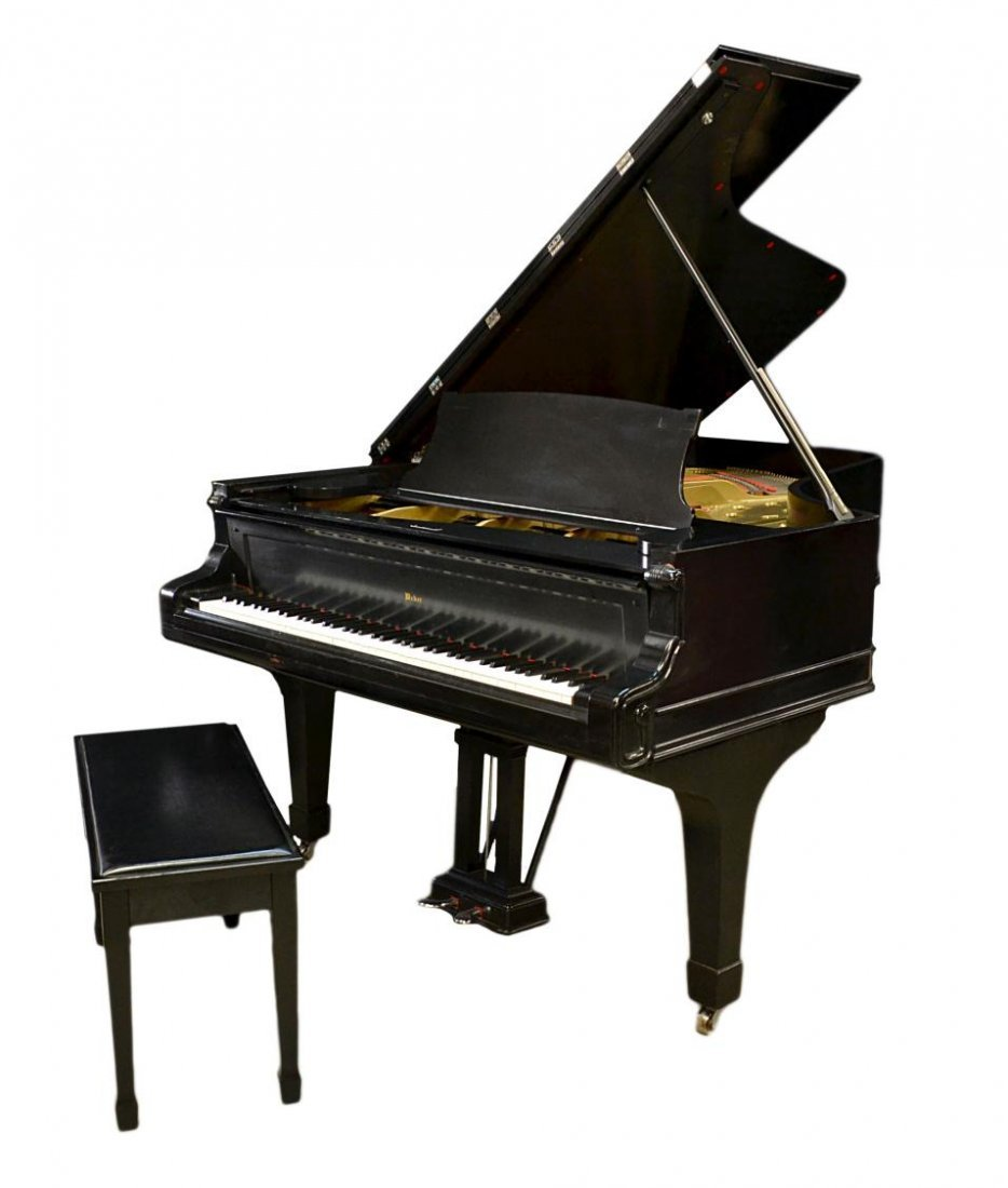 777: WEBER EBONY FINISH REFURBISHED GRAND PIANO & BENCH