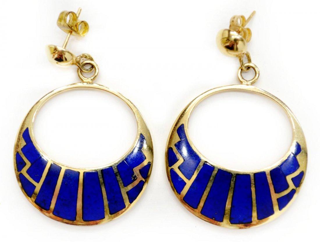 506C: LADIES 14KT GOLD & LAPIS HOOP EARRINGS, SIGNED