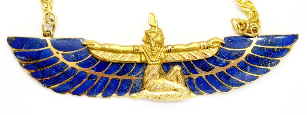 506D: EGYPTIAN 18KT GOLD & LAPIS FIGURAL MA'AT NECKLACE - 2
