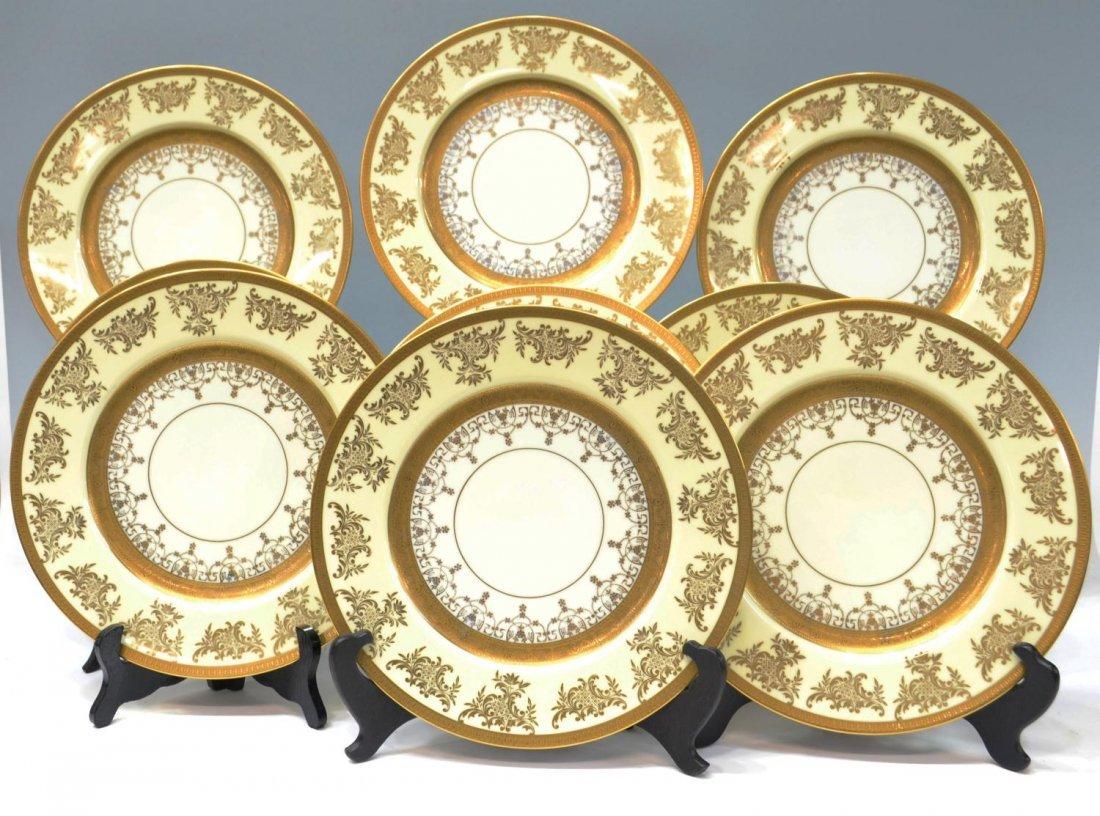 8: (9) HIGHLY DECORATED PARCEL GILT PORCELAIN PLATES