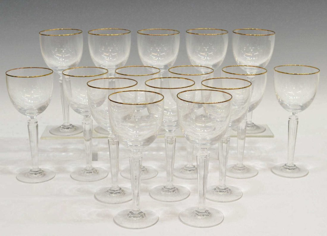 9A: (16) WATERFORD METROPOLITAN GOLD WINE GOBLETS