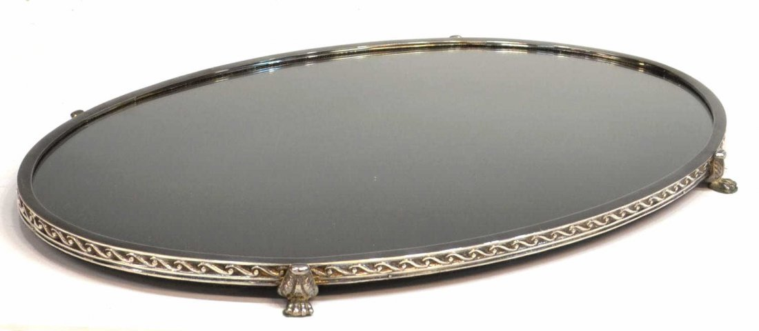 13: LARGE OVAL SILVER PLATE PAW FOOT PLATEAU MIRROR