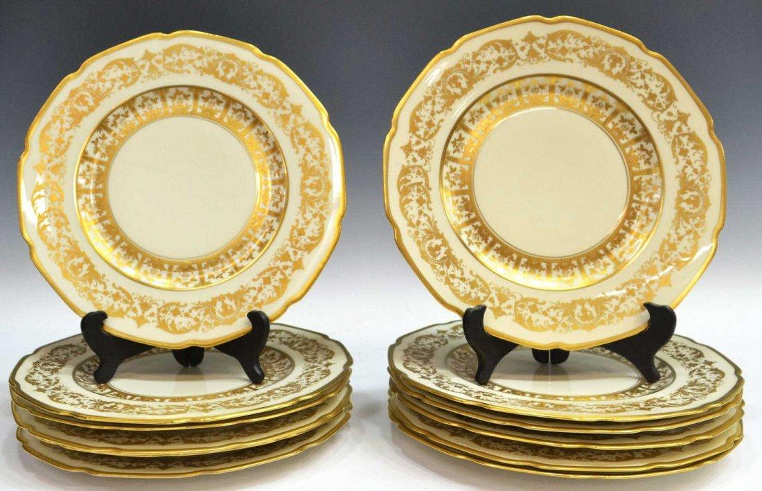 14: BAVARIAN PORCELAIN GILDED DINNER PLATES