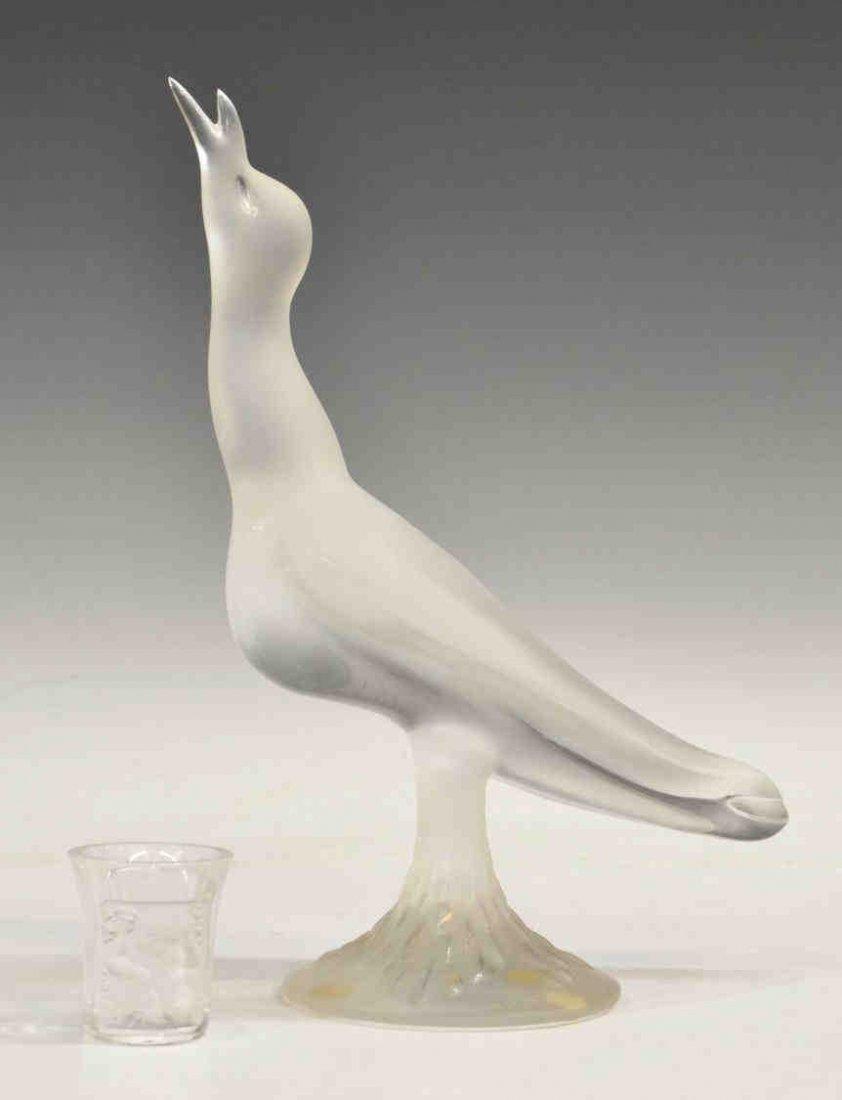 21: (2) LALIQUE ART CRYSTAL BIRD & 'ENFANTS' LIQUOR