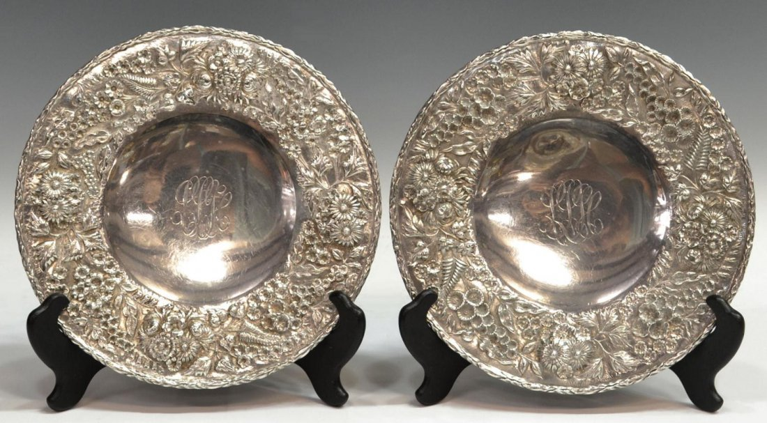 22: S.KIRK & SON 'REPOUSSE' STERLING PEDESTAL DISHES