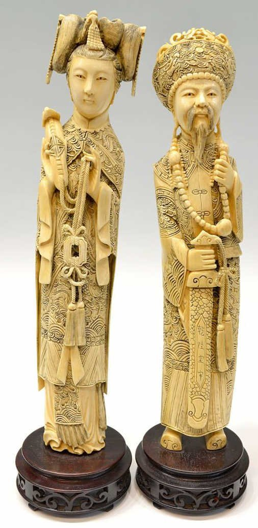 115: (2)CHINESE CARVED IVORY EMPEROR & EMPRESS FIGURES