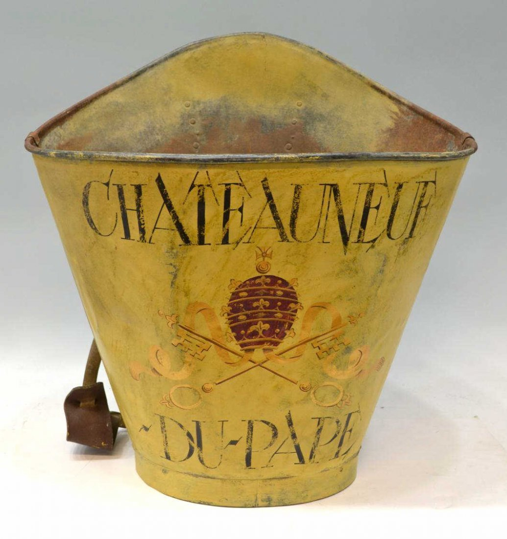 271: VINTAGE FRENCH GRAPE PICKERS BUCKET, CHATEAU-NEUF