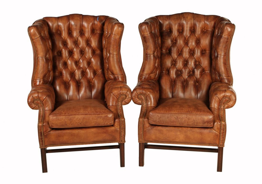 273: (2) NEW BUTTONED LEATHER WINGBACK CHAIRS