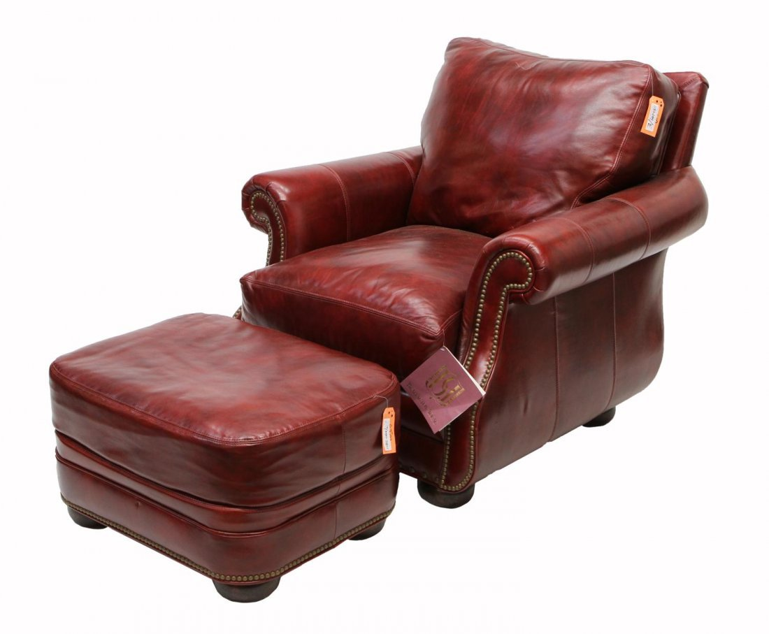 BURGUNDY LEATHER CLUB CHAIR & OTTOMAN