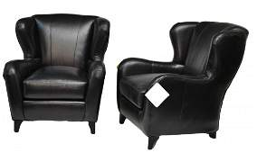 336 PAIR BLACK LEATHER WING BACK ARM CHAIRS