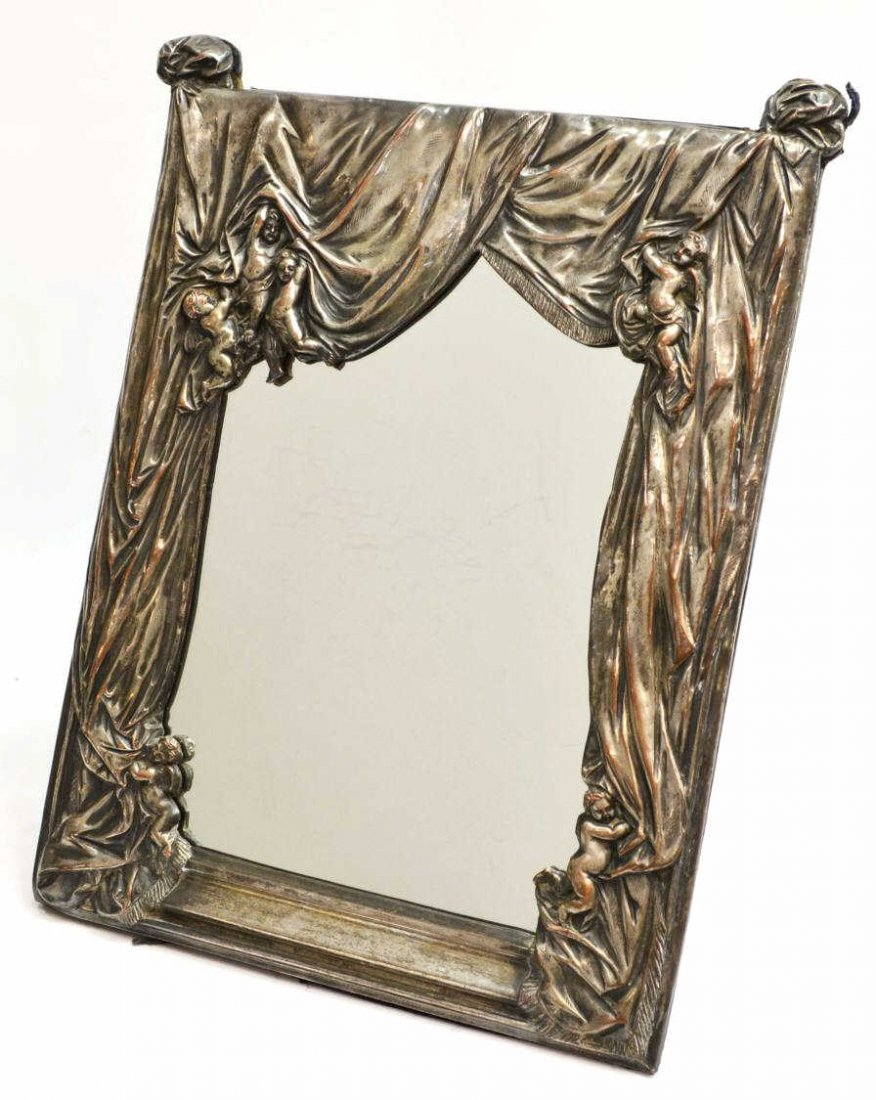 1: REPOUSSE SILVER PLATE WINGED CHERUB TABLE MIRROR
