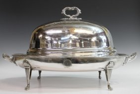 2: ANTIQUE WELL-AND-TREE MEAT TRAY & DOMED COVER