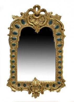 3: CONTINENTAL BAROQUE STYLE GILTWOOD WALL MIRROR