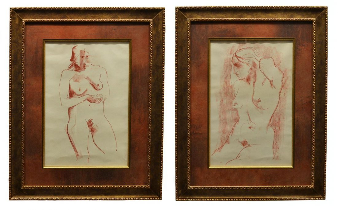 6: (PAIR) FRAMED NUDE DRAWINGS