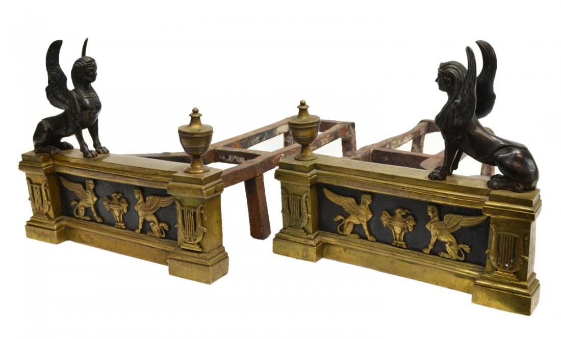 10: FRENCH EMPIRE STYLE PARCEL GILT BRONZE ANDIRONS