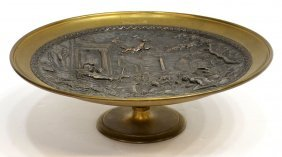 11: ANTIQUE PATINATED BRONZE FIGURAL RELIEF CARD TRAY