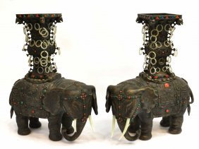 12: PAIR ANTIQUE CHINESE SILVER & JADE ELEPHANT VASES