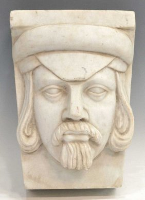 CONTINENTAL CARVED MARBLE FIGURAL MASK, 18TH C.