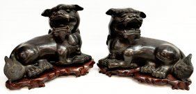 15: PAIR LARGE DETAILED CHINESE BRONZE FOO DOGS