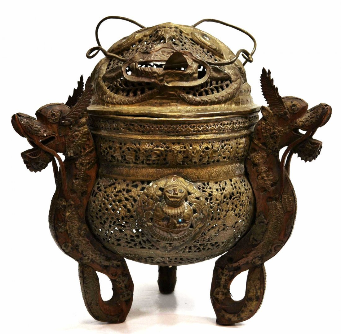16: LARGE ASIAN PIERCED BRASS FIGURAL DECORATED CENSER