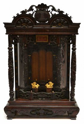 17: CHINESE CARVED WOOD DRAGON TABLE ALTAR