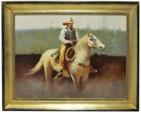 18: WESTERN PAINTING, COWBOY ON WHITE HORSE