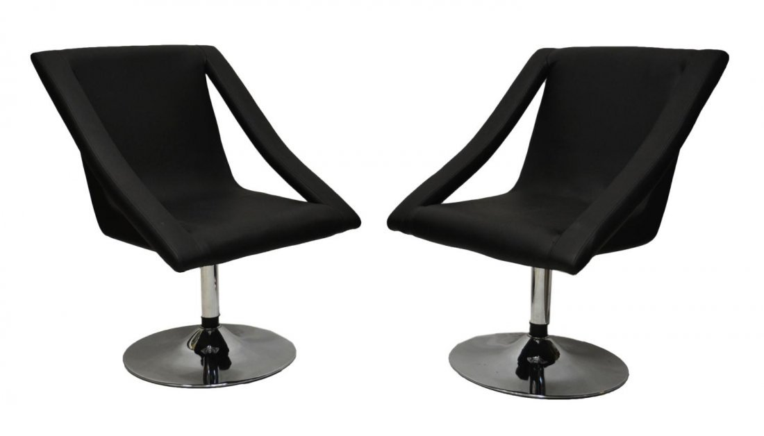 24: (PAIR) BLACK SWIVEL CHROME BASE ARM CHAIRS