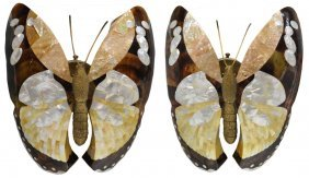 69: MAITLAND-SMITH BUTTERFLY FORM MOP LIGHT SCONCES