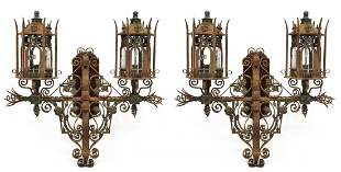 87: PAIR MAITLAND-SMITH RUSTIC IRON TWO-LIGHT SCONCES