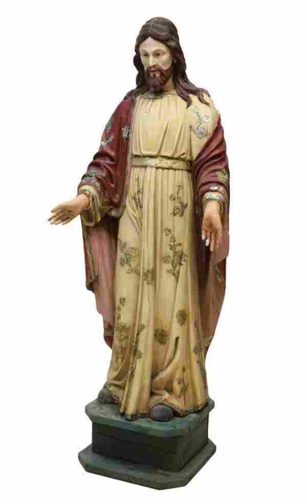ANTIQUE RELIGIOUS FRENCH COLONIAL CARVED STATUE