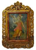 145 ANTIQUE MEXICO RELIGIOUS PAINTING ON TIN RETABLO