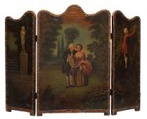 328 ANTIQUE HAND PAINTED LEATHER THREE PANEL SCREEN