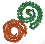 578 2 CHINESE AGATE  GREEN HARDSTONE NECKLACES