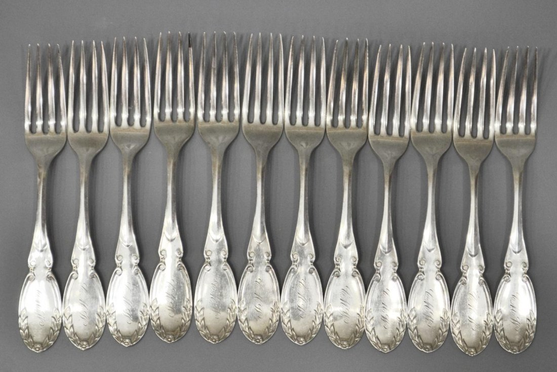5: (12) 19TH C. COIN SILVER FORKS, CHICAGO