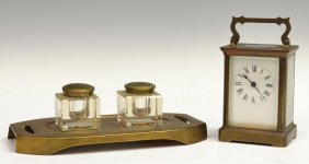 8: (2) FRENCH CARRIAGE CLOCK & GERMAN DOUBLE INKWELL