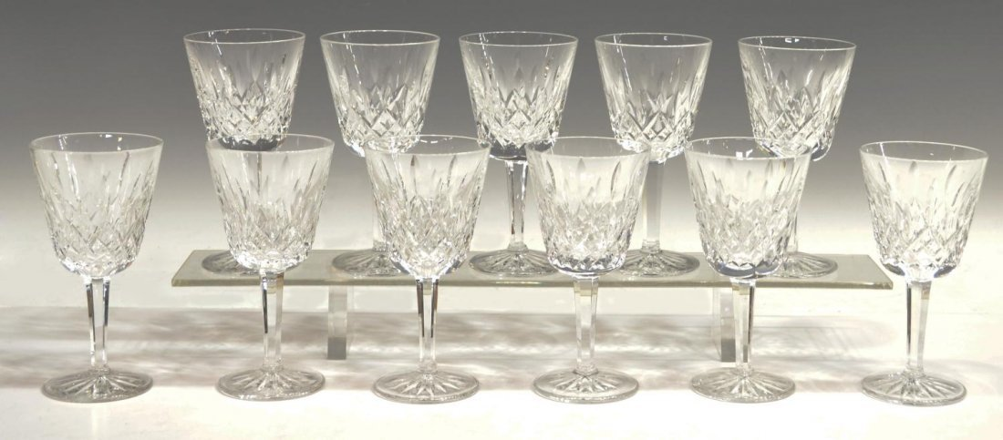 10: (11)WATERFORD CUT CRYSTAL 'LISMORE' CLARET GOBLETS