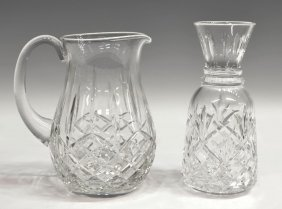 (2) WATERFORD CUT CRYSTAL DRINKS PITCHER & CARAFE
