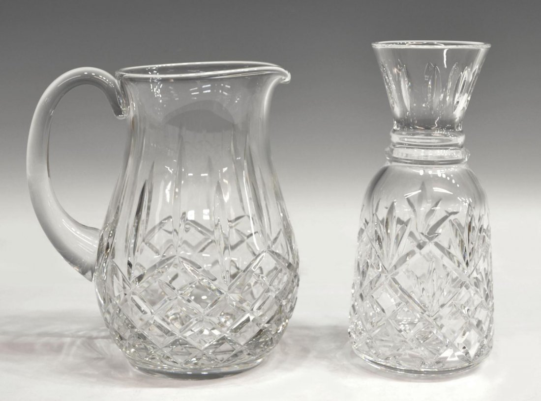 12: (2) WATERFORD CUT CRYSTAL DRINKS PITCHER & CARAFE