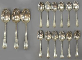 13: (15)GORHAM DOMESTIC PATTERN STERLING SILVER SPOONS