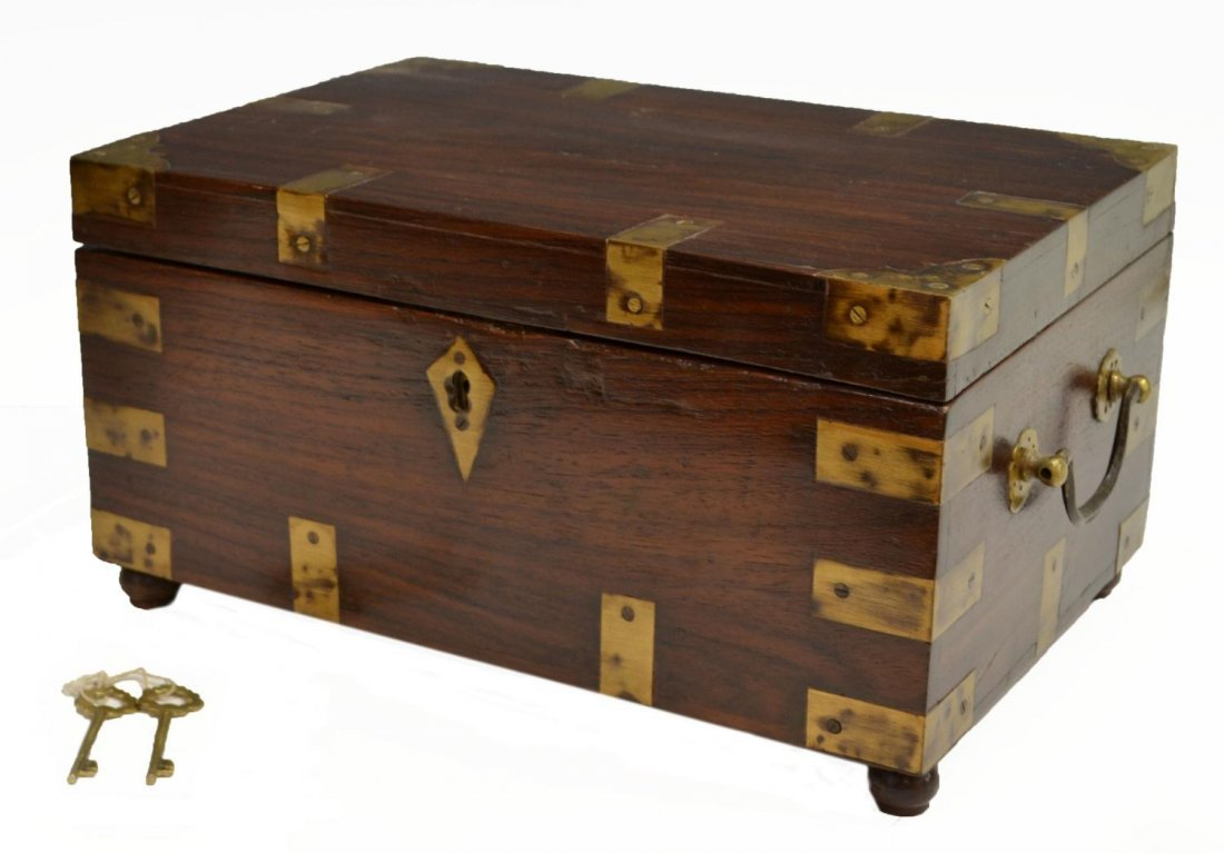 16: BRITISH COLONIAL BRASS BOUND FITTED TRAVEL BOX