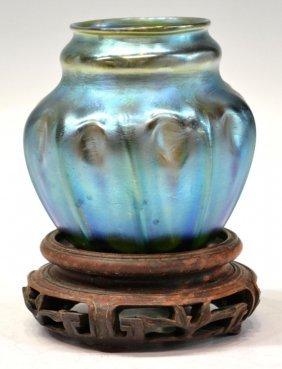 17: TIFFANY BLUE FAVRILE CABINET VASE