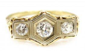 20: FINE LADIES GOLD & DIAMOND FILIGREE ESTATE RING