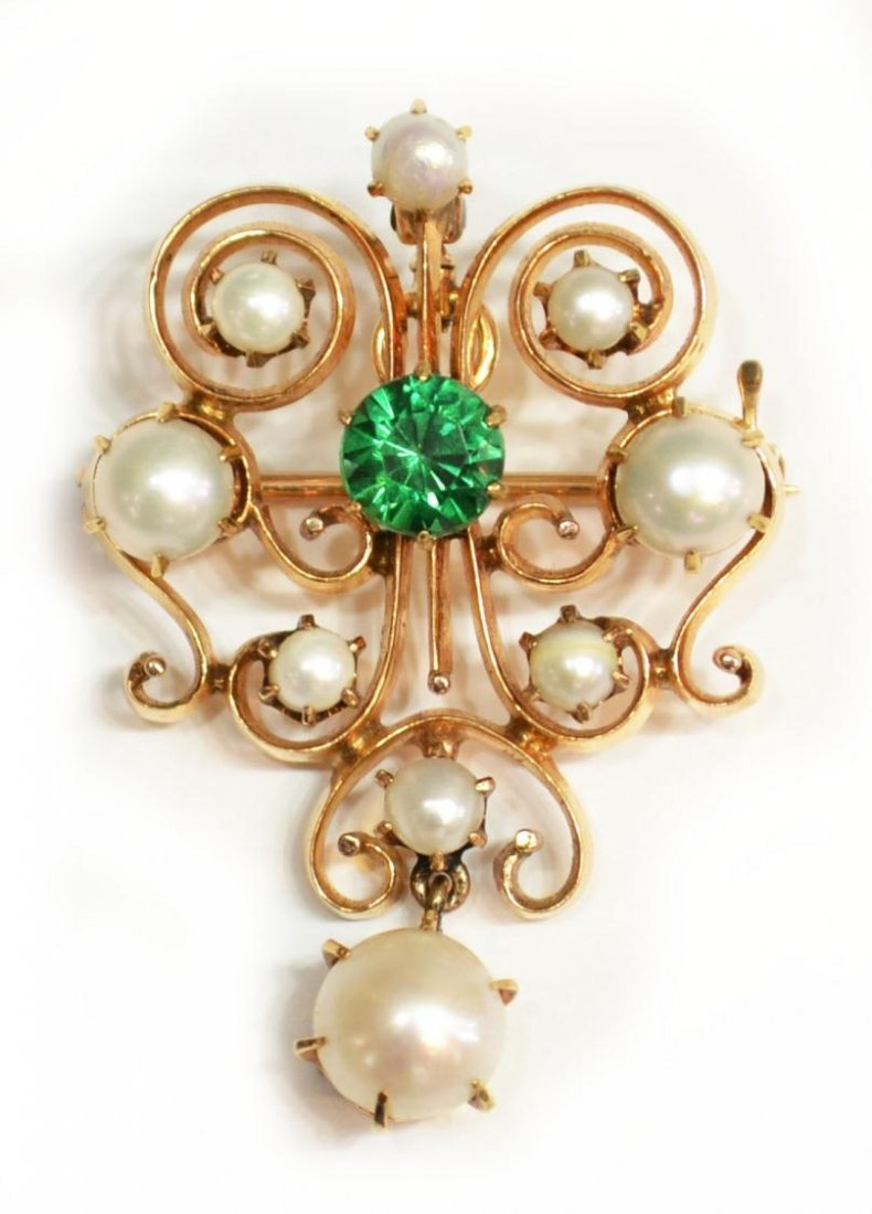 21: ANTIQUE ESTATE PIN / PENDANT, 14KT GOLD & PEARL