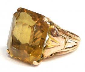22: LADIES VINTAGE 10KT GOLD & CITRINE ESTATE RING