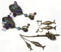 VINTAGE CHINESE ENAMELED ARTICULATED JEWELRY SUITE