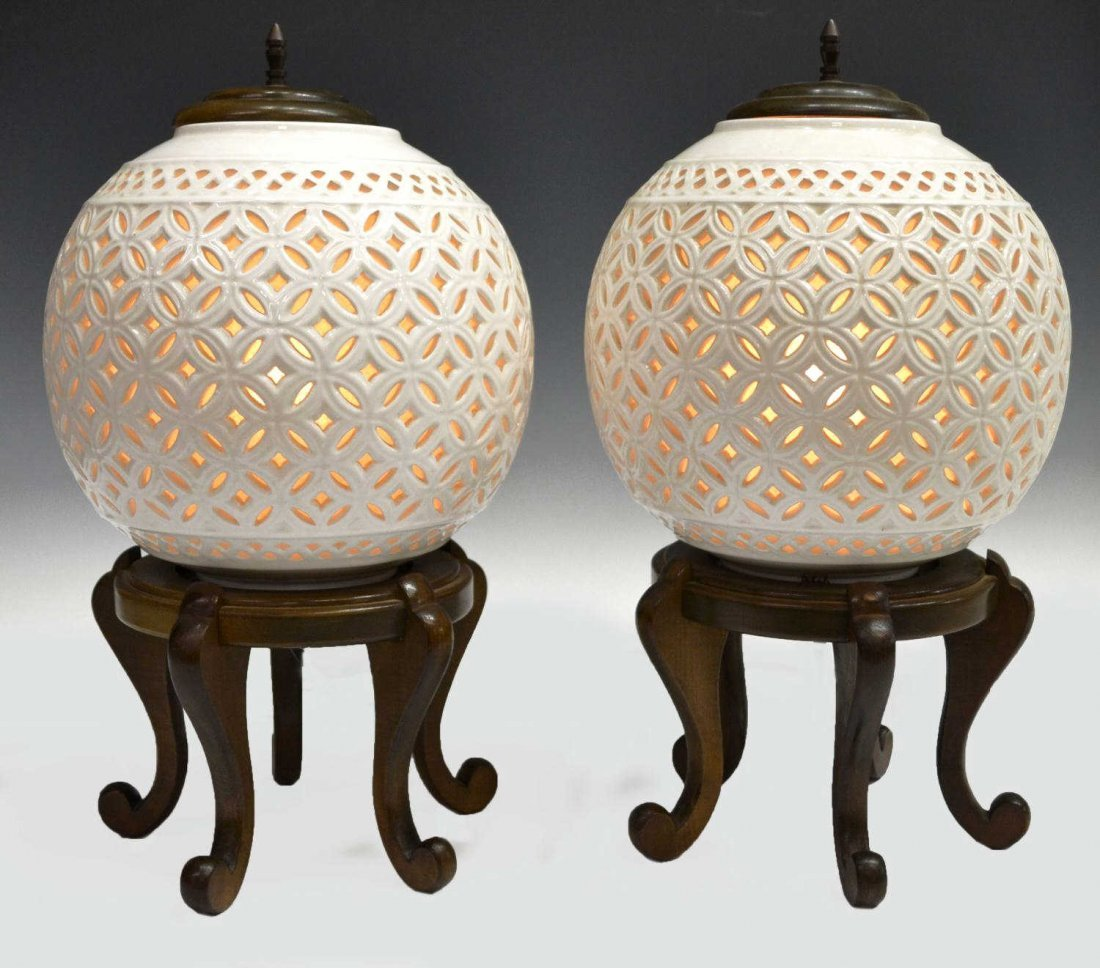 Asian pierced white ceramic ginger jar table lamps 211 asian pierced white ceramic ginger jar table lamps geotapseo Gallery